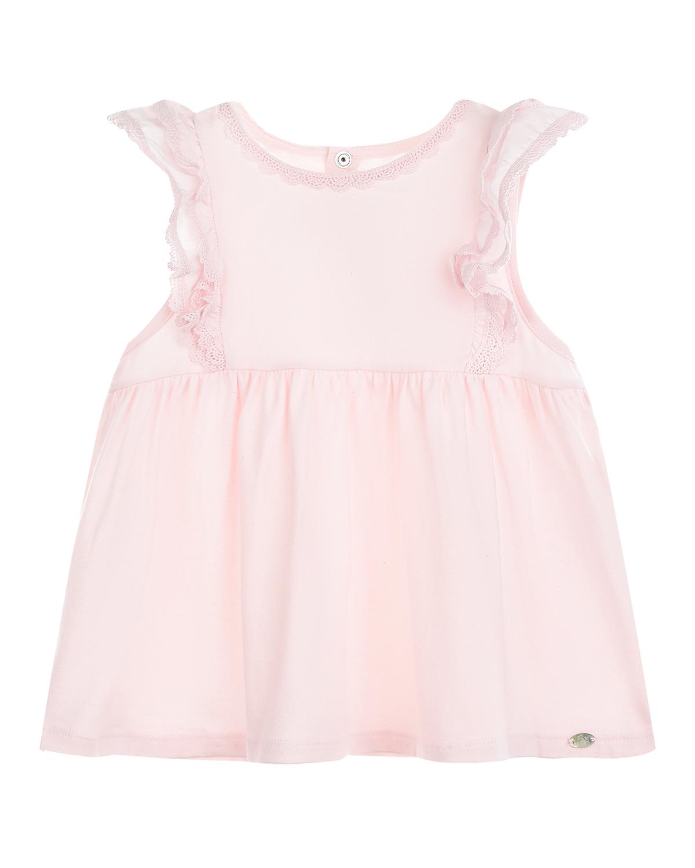 Купить Розовя футболка с кружевом Tartine et Chocolat детская, Розовый, 50% модакрил+46% хлопок+4% эластан, 100% хлопок