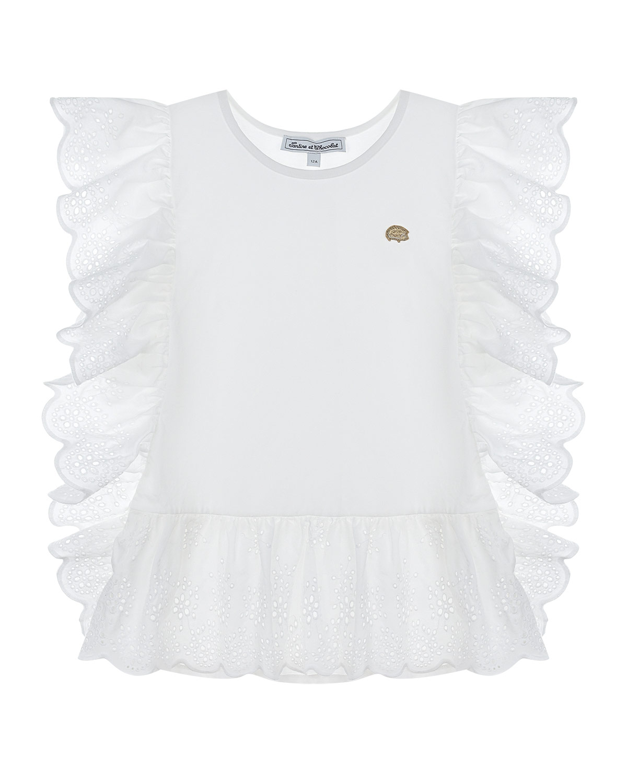 Купить Белая футболка с оборками Tartine et Chocolat детская, Белый, 96% хлопок +4% эластан, 100% хлопок