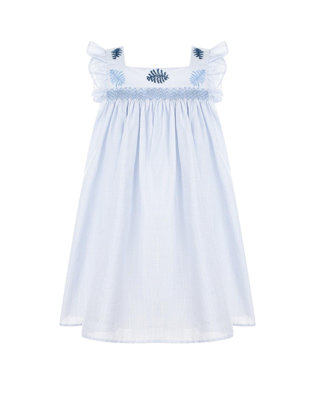 Купить Голубое платье с оборками и вышивкой Tartine et Chocolat детское, Голубой, 97% хлопок+2% вискоза+1% полиэстер, 100% хлопок