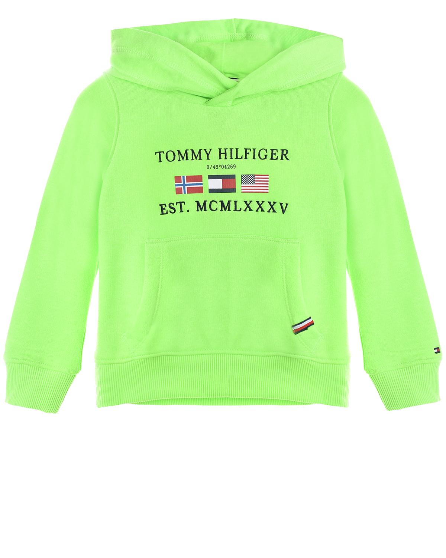 Зеленая толстовка-худи с логотипом Tommy Hilfiger детская фото