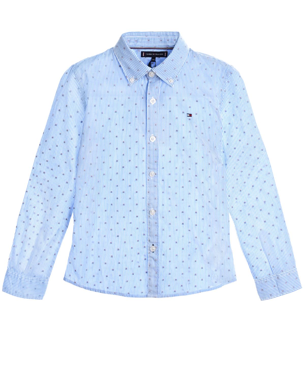 Голубая рубашка в полоску Tommy Hilfiger детская фото