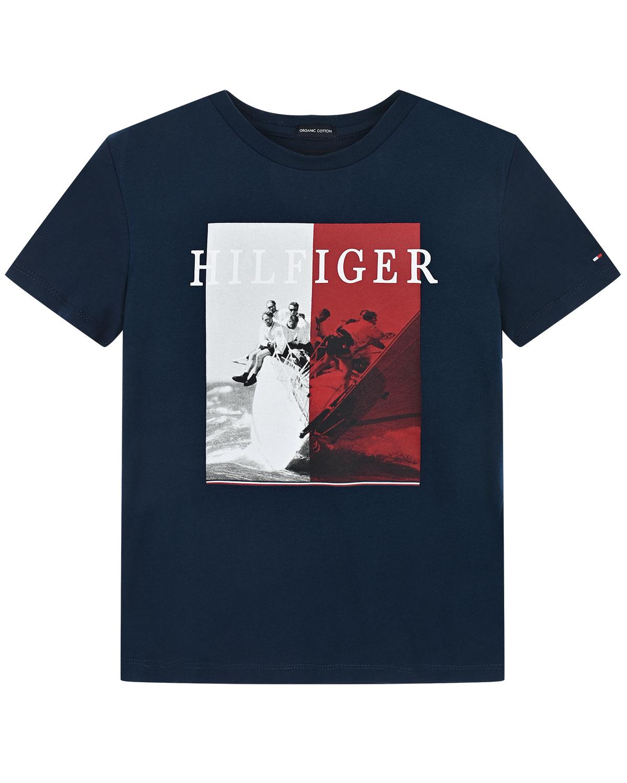 Купить Синяя футболка с принтом яхта Tommy Hilfiger детская