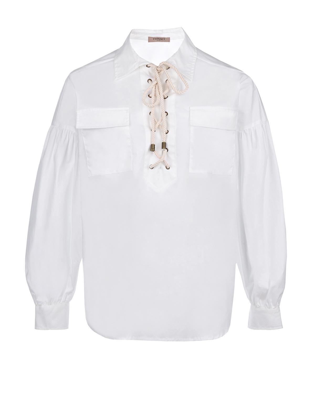 Купить Белая блузка со шнуровкой TWINSET, Белый, 96%хлопок+4%эластан, 100%хлопок, 100%перламутр