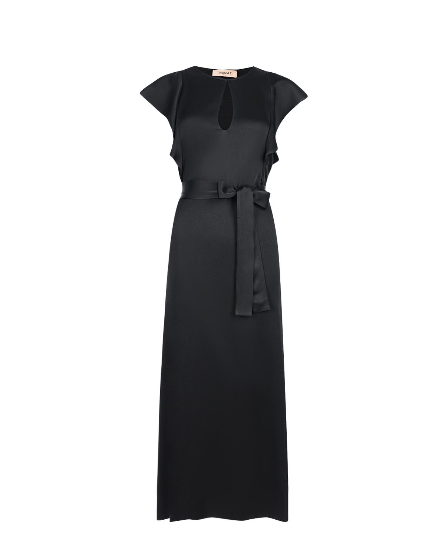 Купить Черное платье с поясом TWINSET, Черный, 71%ацетат+29%вискоза, 100%перламутр