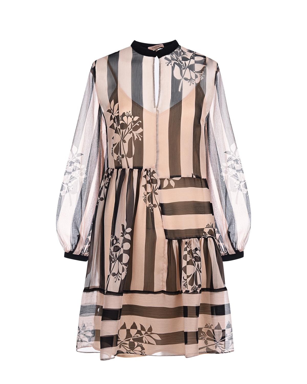 Купить Платье в полоску TWINSET, Черный, 100%полиэстер