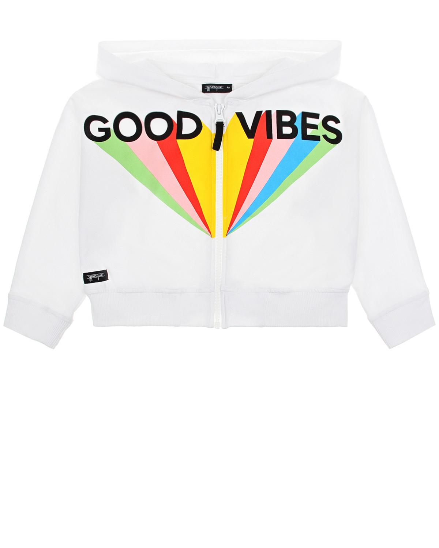 Купить Куртка спортивная с надписью Good vibes Yporque детская, Белый, 70%хлопок+25%модал+5%эластан