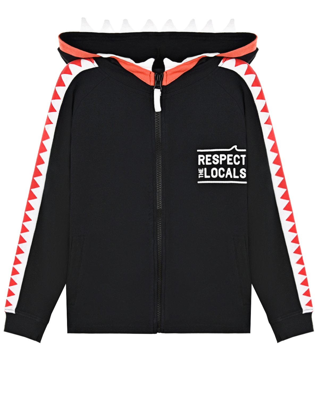 Купить Спортивная куртка с принтом Respect the locals Yporque детская, Черный, 70%хлопок+25%модал+5%эластан
