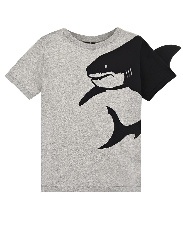 Купить Серая футболка с принтом Акула Yporque детская, Серый, 100%хлопок