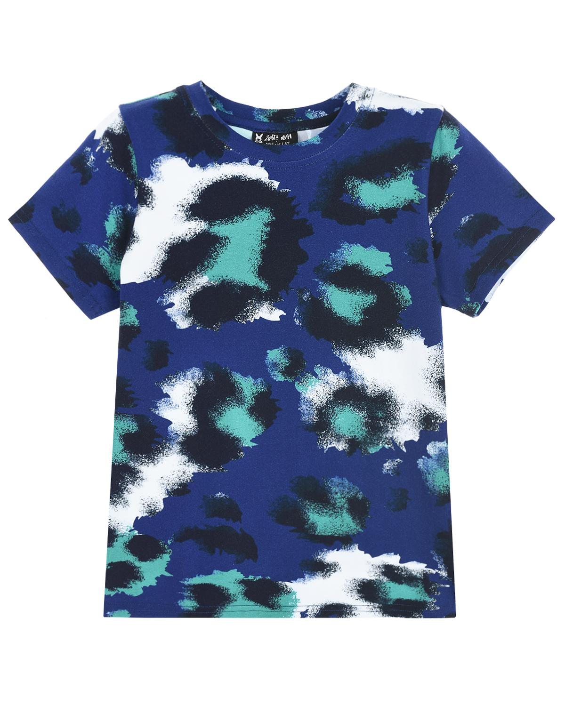 Купить Синяя футболка с принтом пятна Zombie Dash детская, Мультиколор, 94%хлопок+6%эластан
