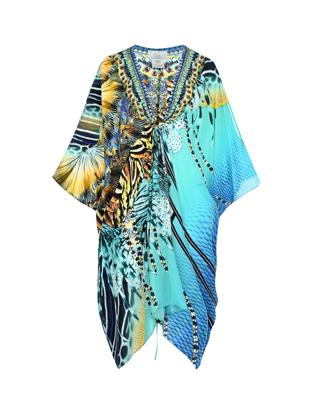 Купить Платье oversize с рукавами летучая мышь Camilla, Голубой, 100%шелк