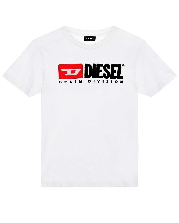 Купить Белая футболка из хлопка с вышивкой и патчем Diesel детская
