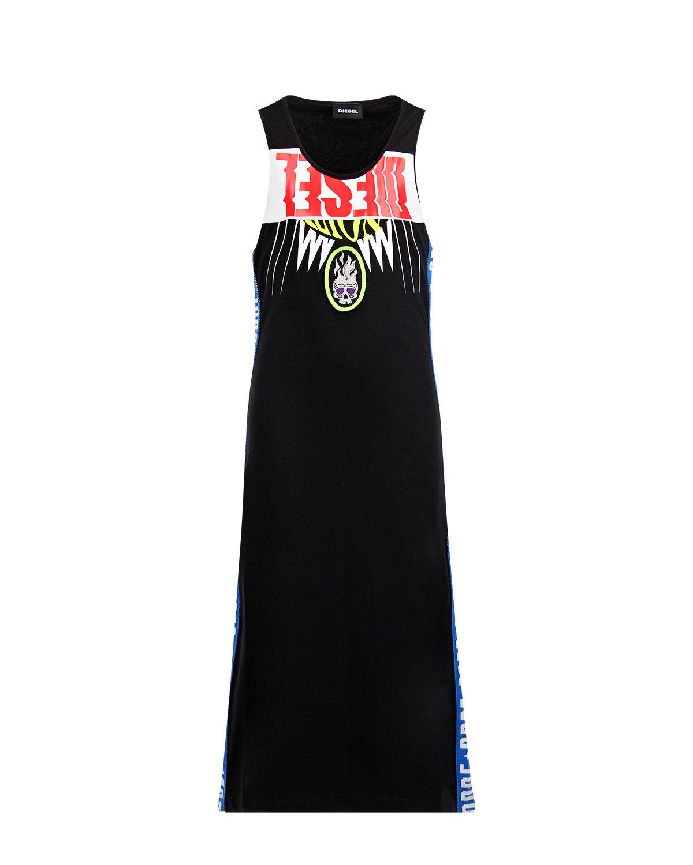 Купить Черное платье из хлопка с лампасами Diesel детское, Черный, 95%хлопок+5%эластан, 100%хлопок