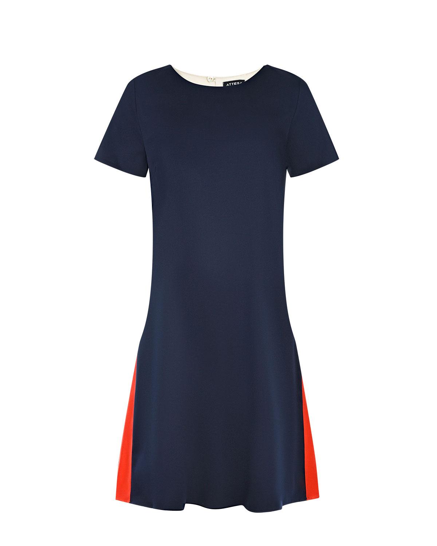 Платье в стиле колорблок Attesa синего цвета