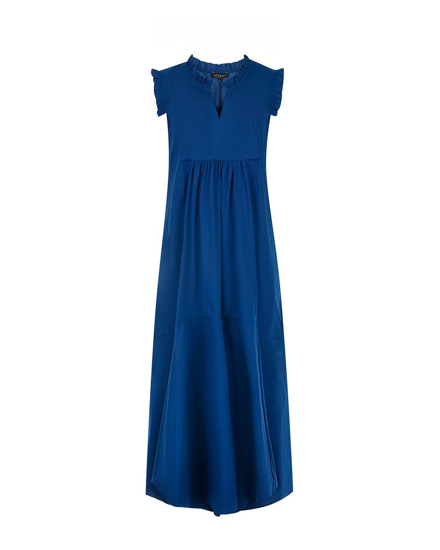Купить Платье с отделкой рюшами Attesa, Синий, 65%хлопок+30%нейлон+5%эластан