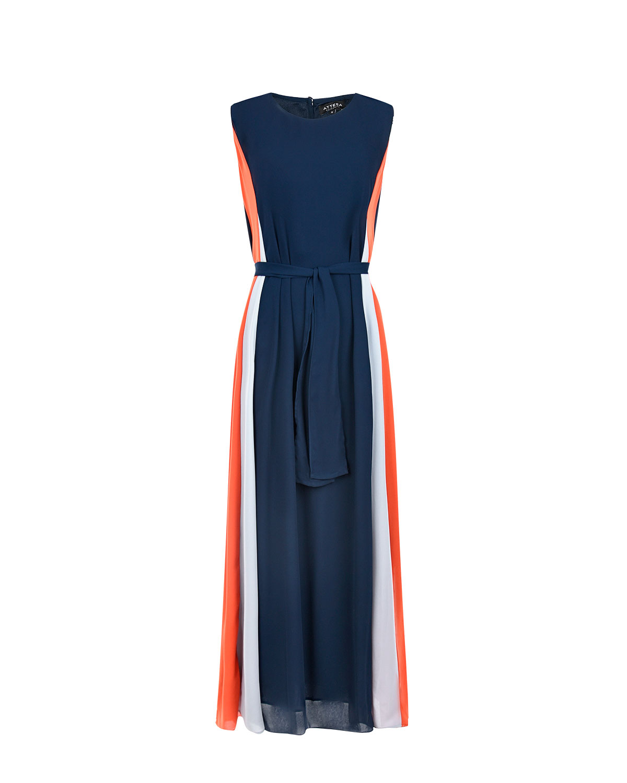 Фото #1: Платье с поясом в стиле колорблок Attesa