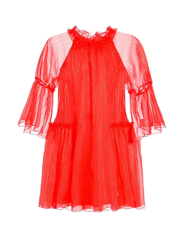 Купить Красное платье из шелка с оборками Dior детское, Красный, 97%шелк+3%полиэстер