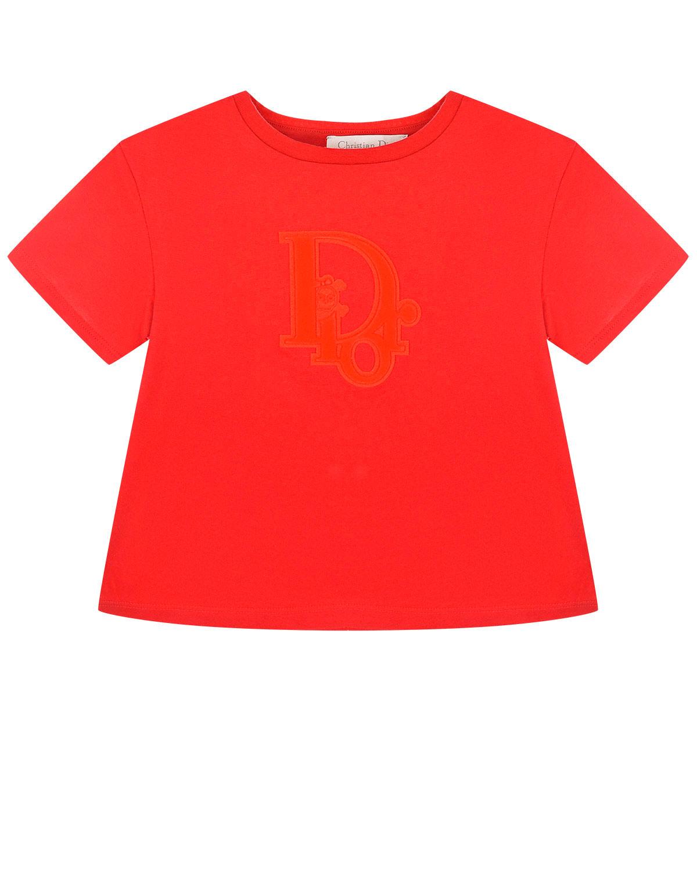 Купить Красная футболка с патчем логотипа Dior детская