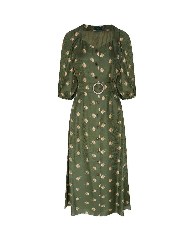 Зеленое платье с цветочным принтом Alena Akhmadullina фото