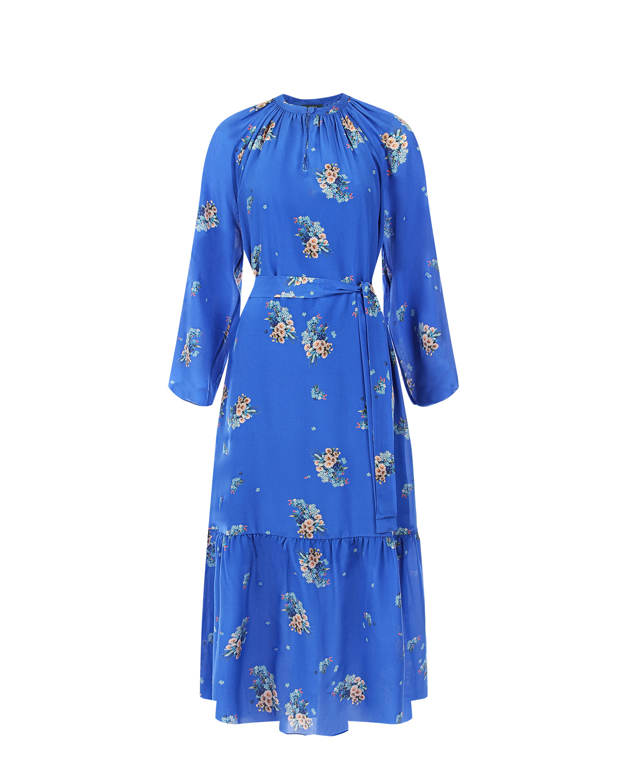 Платье из синего шелка с цветочным принтом Alena Akhmadullina фото