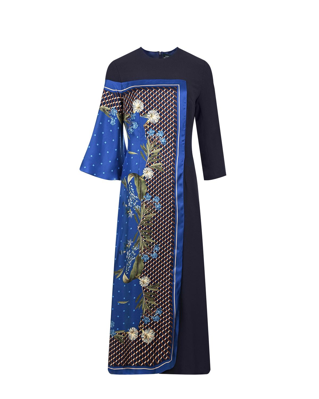 Купить Приталенное платье с шелковой вставкой Alena Akhmadullina, Синий, 60%шелк+40%полиэстер, 100%шелк