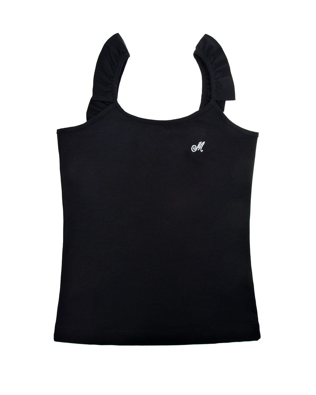 Купить Черный топ с рюшами и логотипом из стразов Monnalisa детский