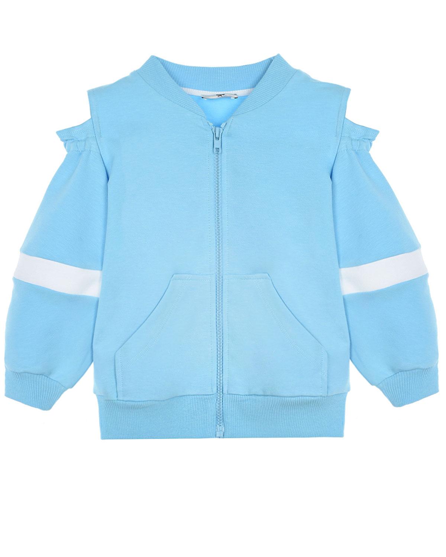 Купить Спортивная куртка с открытыми плечами и отделкой стразами Monnalisa детская, Голубой, 73%хлопок+22%полиэстер+5%эластан