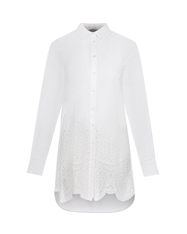 Белая рубашка с кружевным декором TWINSET фото