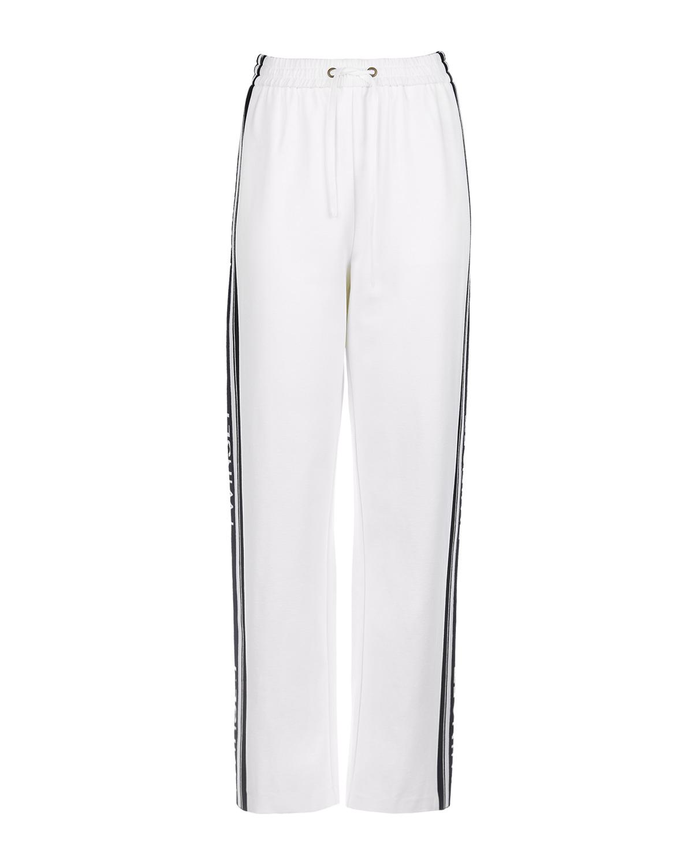 Купить Белые спортивные брюки с лампасами TWINSET, Белый, 68%вискоза+27%полиамид+5%эластан, 50%вискоза+26%полиамид+23%полиэстер+1%эластан, 100%полиэстер
