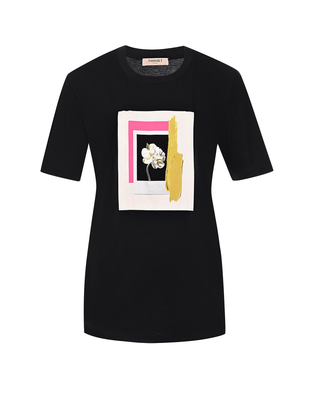 """Купить со скидкой Черная футболка с принтом """"Пион"""" TWINSET"""