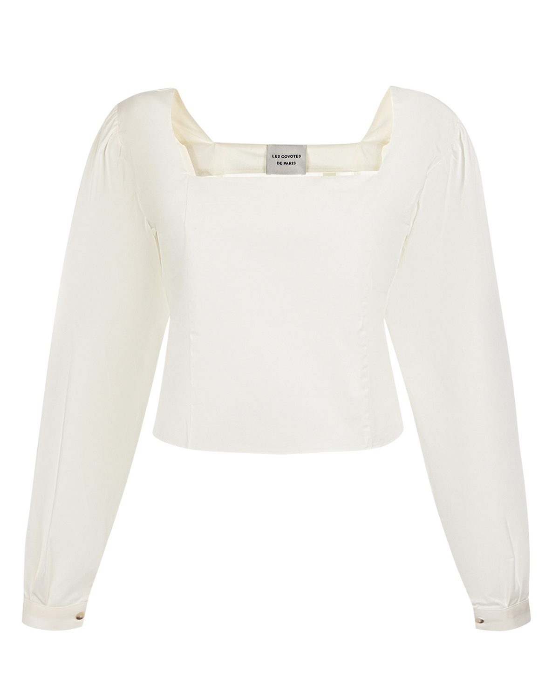 Купить Укороченный блузон с квадратным вырезом Les Coyotes de Paris, Белый, 100%хлопок