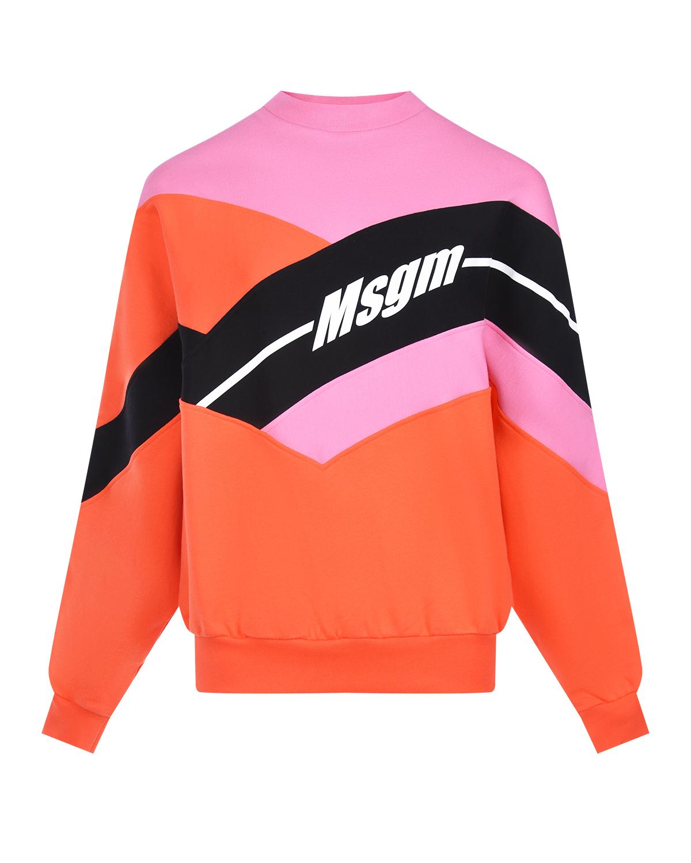 Розовый джемпер oversize с логотипом MSGM фото