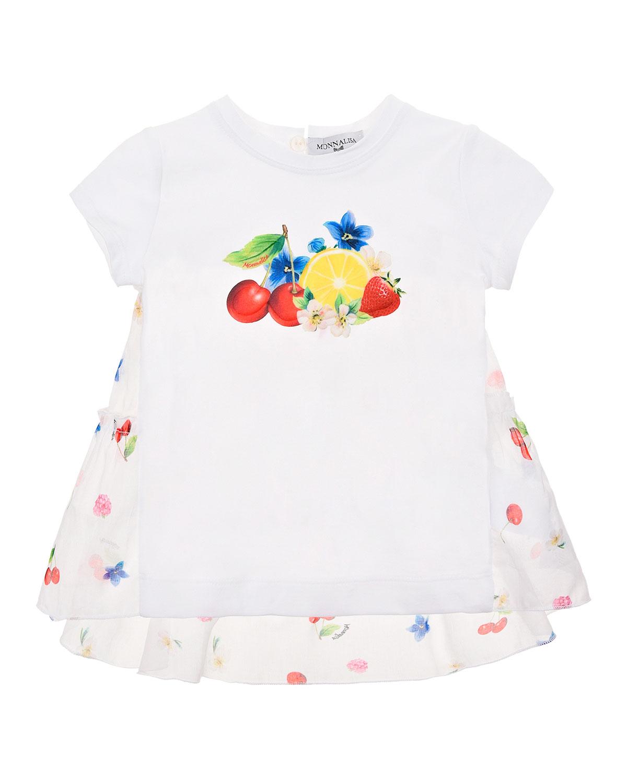 Купить Туника с принтом Цветы и фрукты Monnalisa детская, Белый, 95%хлопок+5%эластан, 100%хлопок