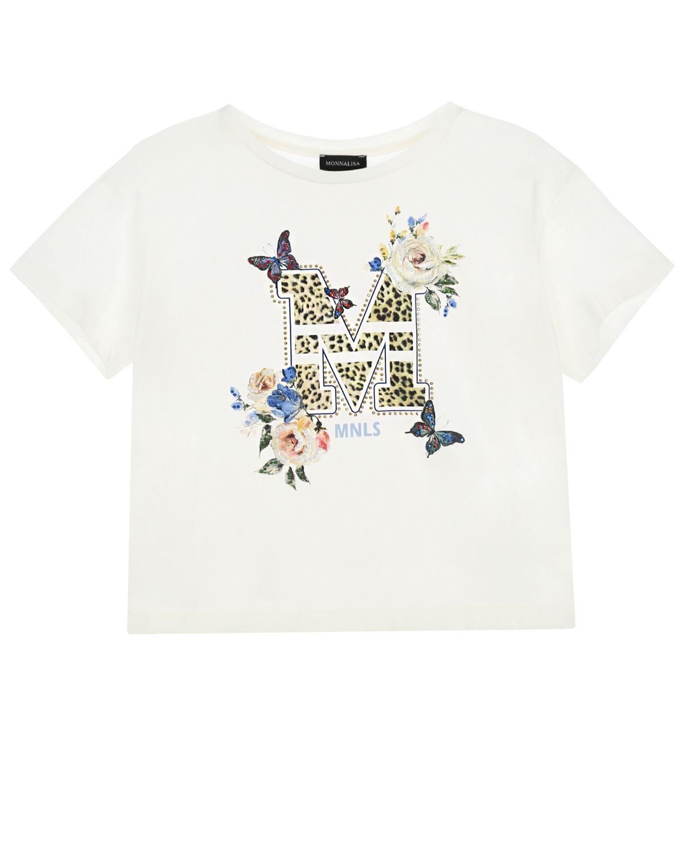 Купить Белая футболка с леопардовым логотипом Monnalisa детская