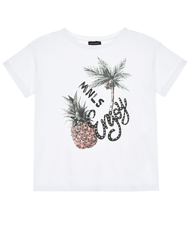 """Белая футболка с надписью """"Enjoy"""" Monnalisa детская фото"""