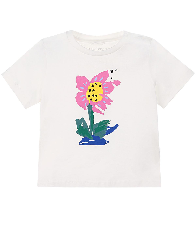 """Белая футболка с принтом """"цветок"""" Stella McCartney детская фото"""