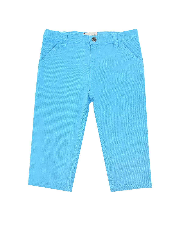 Купить Бирюзовые брюки из габардина GUCCI детские, Нет цвета, 98%хлопок+2%эластан, 100%полиэстер