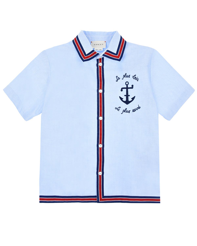 Рубашка с отделкой лентой GUCCI детская фото