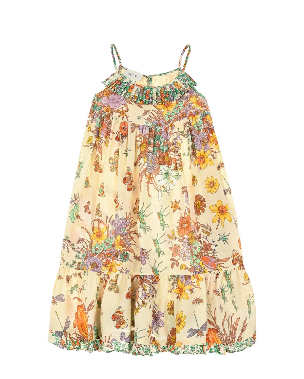 Купить Шелковое платье с принтом Flora GUCCI детское, Нет цвета, 100%шелк, 100%вискоза