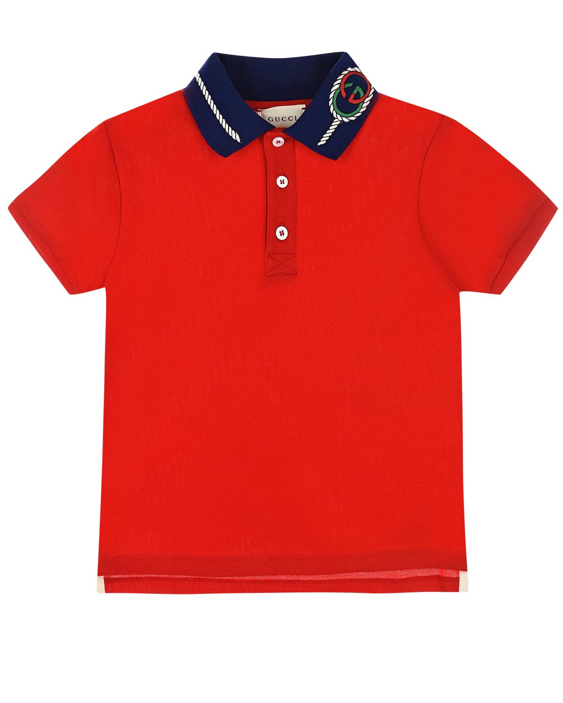 Купить Футболка-поло с вышивкой на воротнике GUCCI детская, Красный, 96%хлопок+4%эластан, 100%хлопок, 100%полиэстер