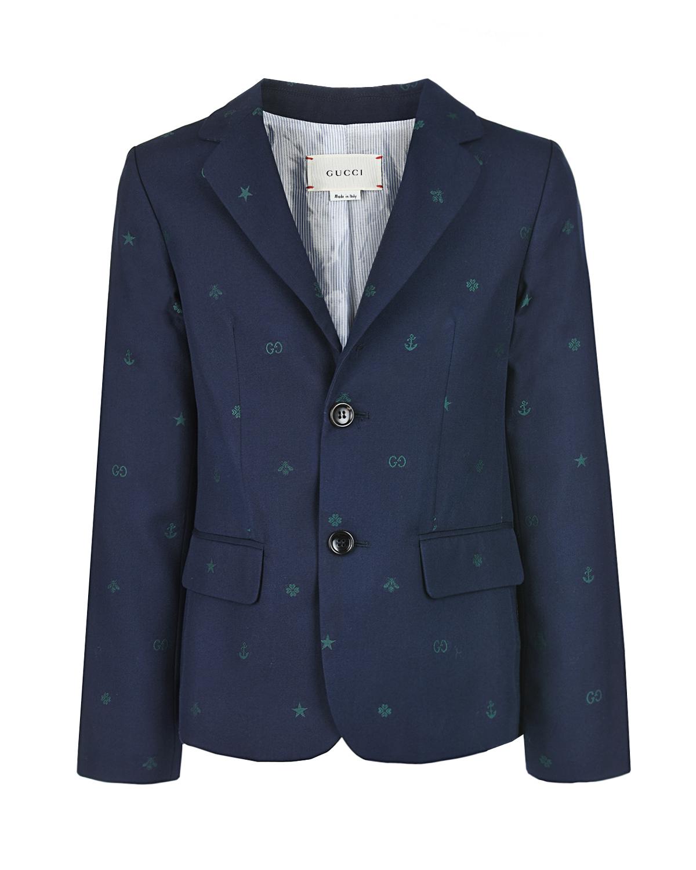 Купить Пиджак из хлопка с вышивкой GUCCI детский, Синий, 100%хлопок, 55%вискоза+45%купро
