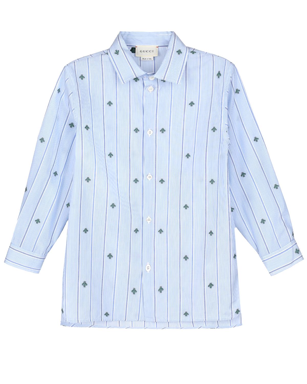 Купить Рубашка в тонкую полоску с вышивкой в виде пчелы GUCCI детская, Голубой, 100%хлопок
