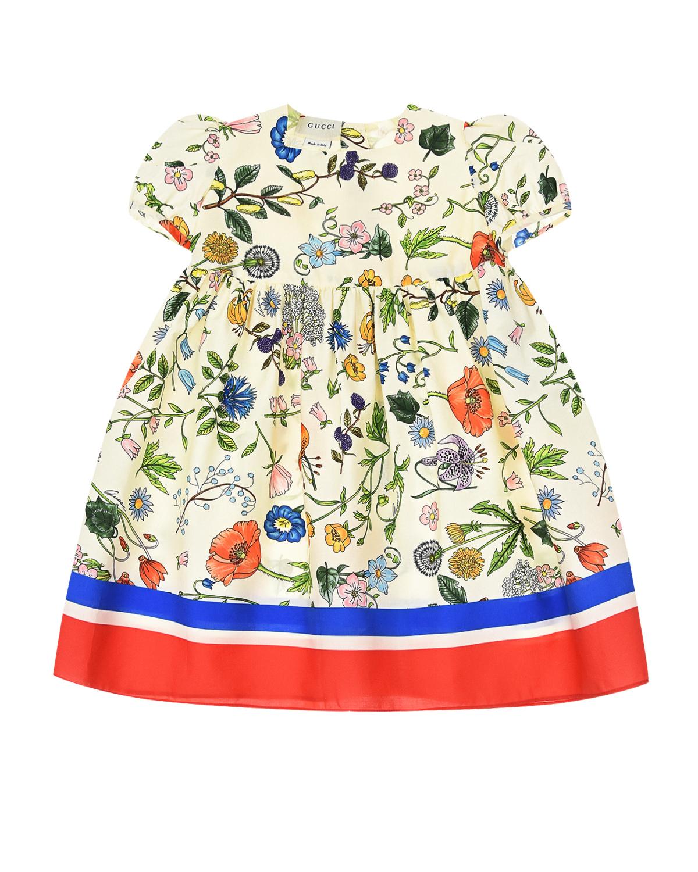 Купить Платье из поплина с принтом Flora Festival GUCCI детское