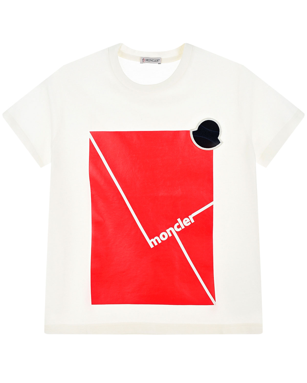 Хлопковая футболка с контрастным принтом Moncler детская фото
