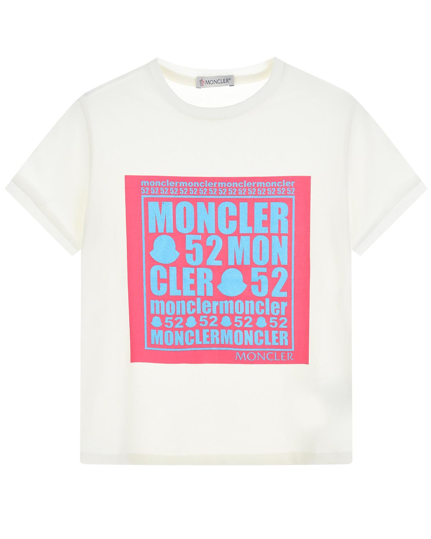 футболка с принтом moncler для девочки