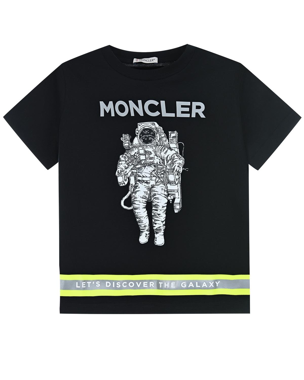 "Футболка с надписью ""Lets discover the galaxy"" Moncler детская фото"
