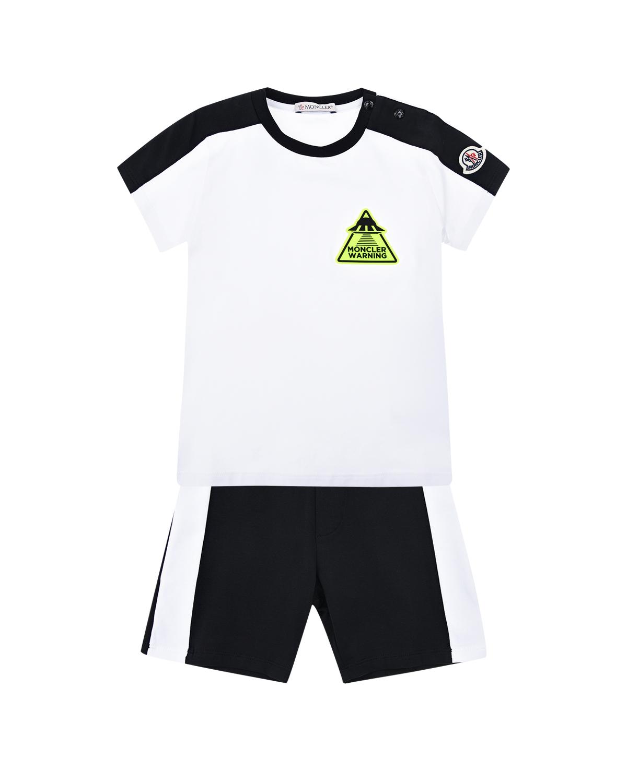 Комплект из футболки и шорт с неоновым логотипом Moncler детский фото