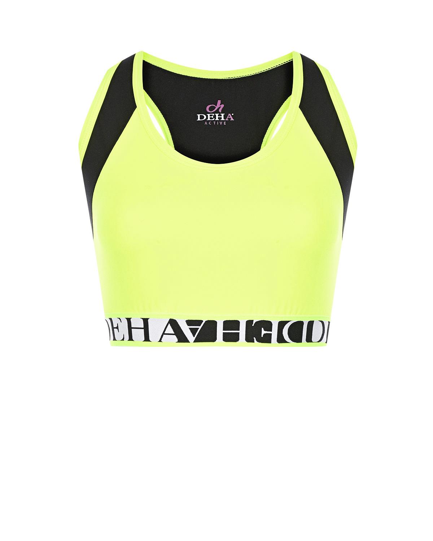Купить Спортивный топ с логотипом бренда Deha, Желтый, 84%полиэстер+16%эластан, 88%хлопок+12%эластан