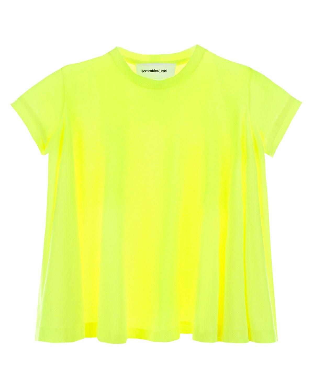 Купить Расклешенная футболка с логотипом на спине Scrambled Ego детская, Желтый, 65%полиамид+35%хлопок