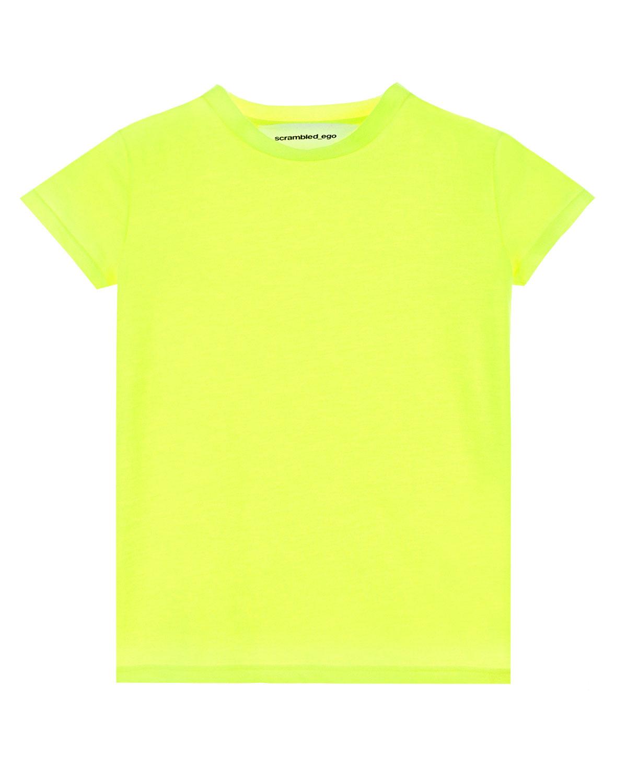 Купить Неоновая футболка с логотипом на спине Scrambled Ego детская, Желтый, 65%полиамид+35% хлопок