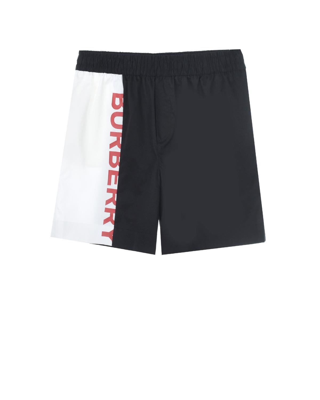 Купить Черные шорты с контрастной вставкой Burberry детские, Черный, 100%хлопок